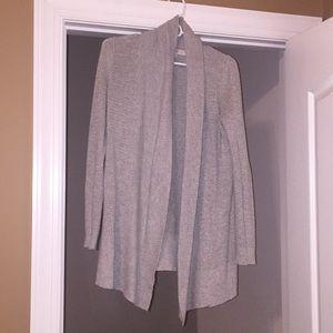 Ann Taylor LOFT - Gray Open Front Cardigan Sweater